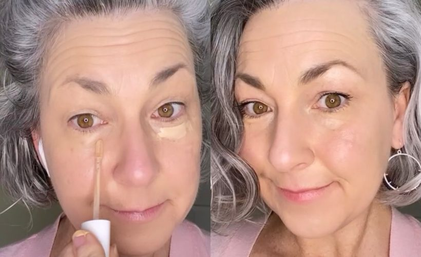 before and after makeup photo on gray-haired woman