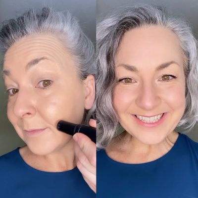gray haired woman applying makeup and with makeup split screen