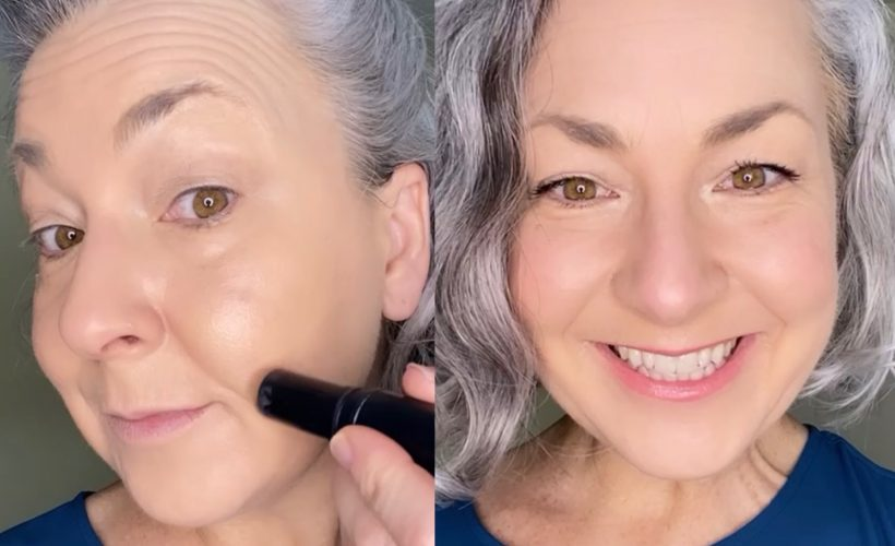 gray haired woman showing instant facelift with makeup in split screen side by side