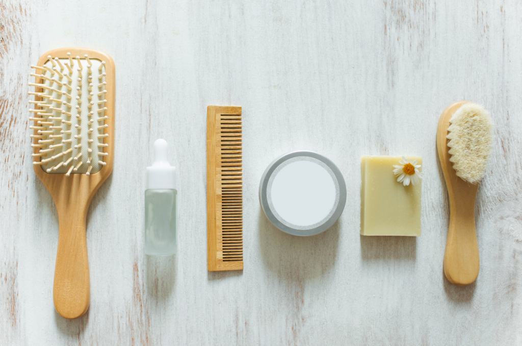 the best non-toxic products for gray hair. hair tools and products shown